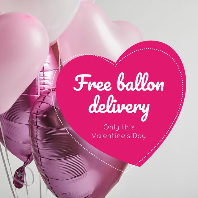 Plantilla de diseño de Valentine's Day Balloons Delivery in Pink Instagram AD