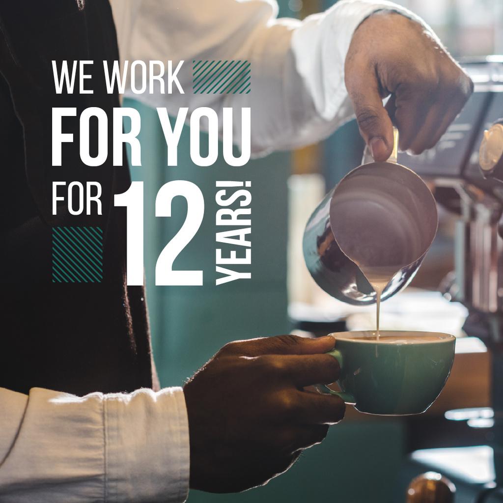 Barista Making Coffee by Machine — Maak een ontwerp