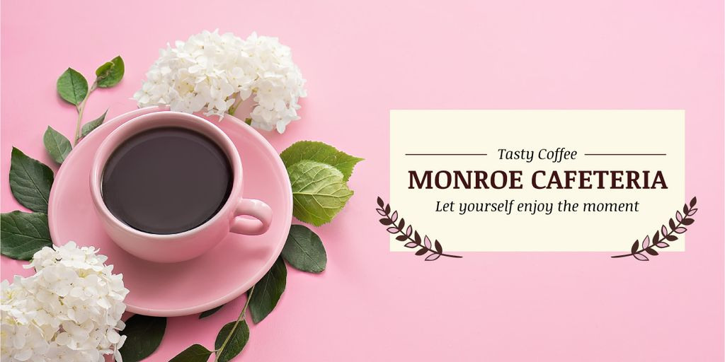 Monroe cafeteria advertisement with coffee cup — ein Design erstellen
