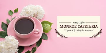 Monroe cafeteria advertisement with coffee cup