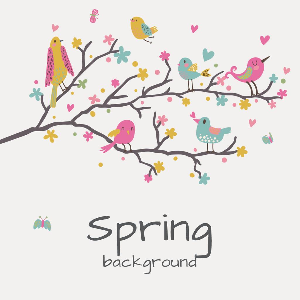 Birds signing on tree branch — Создать дизайн