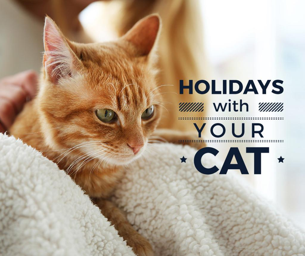Holidays with your cat poster and red cat — Create a Design