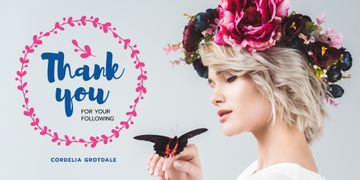 Blog Promotion Woman in Flowers Wreath with Butterfly