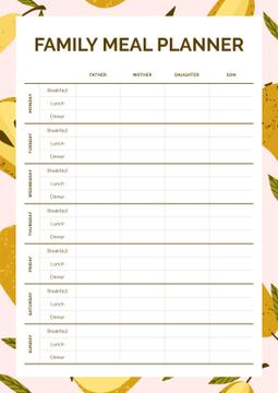 Family Meal Planner in Frame with Pears