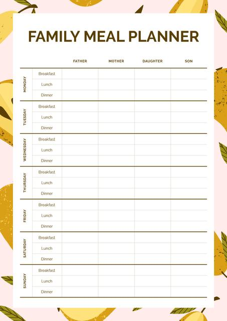 Family Meal Planner in Frame with Pears Schedule Plannerデザインテンプレート