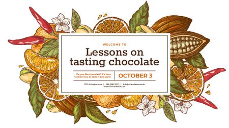 Plantilla de diseño de Cocoa Beans and Citruses Frame FB event cover
