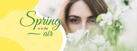 Ontwerpsjabloon van Facebook cover van Dreamy girl with Spring Flowers