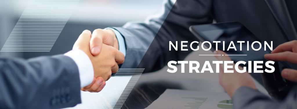 negotiation strategies poster with business people shaking hands — Create a Design
