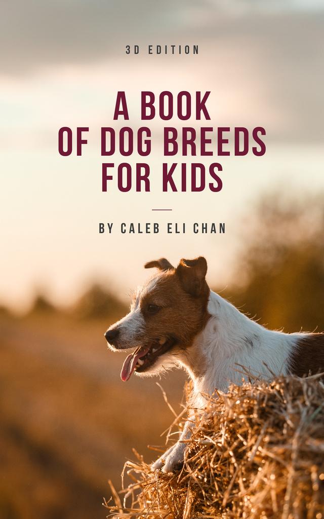 Ontwerpsjabloon van Book Cover van Dog Breeds Guide Funny Puppy Outdoors