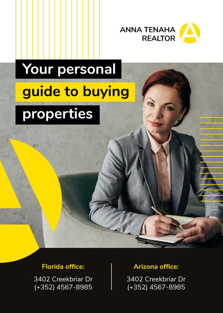 Real Estate Agent Smiling Confident Woman Flayer – шаблон для дизайна