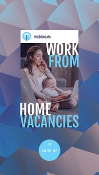 Freelancer Mother Working at Home with Baby | Vertical Video Template