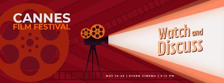 Plantilla de diseño de Cannes Film Festival projector Facebook Video cover