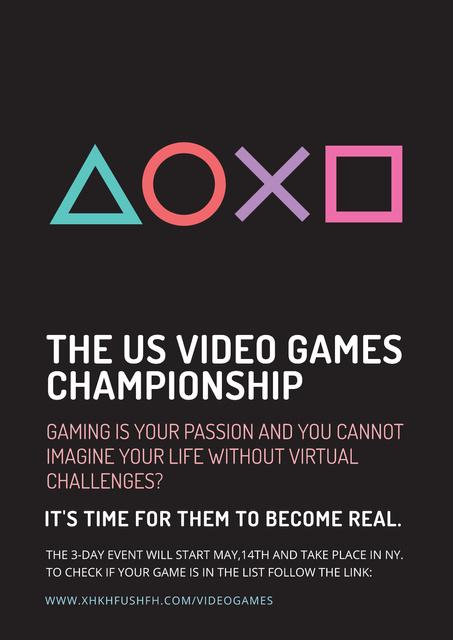 Designvorlage Video games Championship für Poster