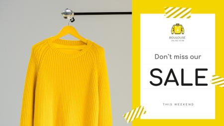 Clothes Store Offer Knitted Sweater in Yellow FB event coverデザインテンプレート