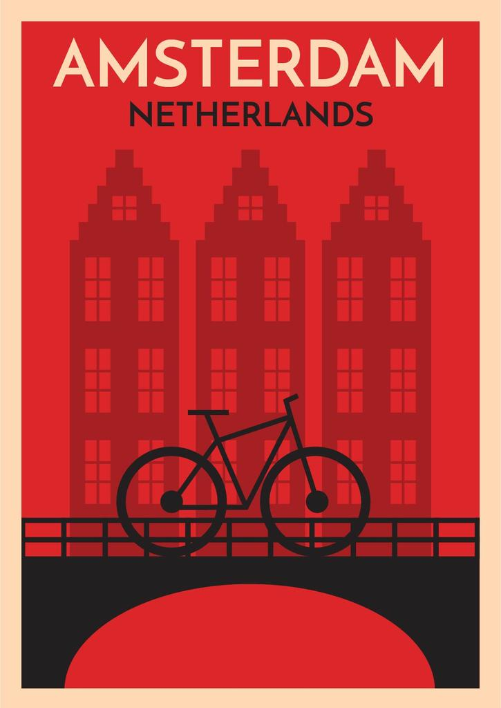 Amsterdam red card with bicycle — Crear un diseño