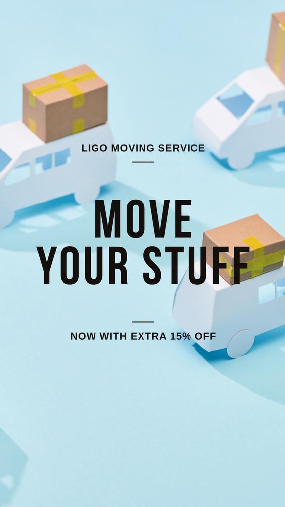 Modèle de visuel Moving Services ad with Trucks - Instagram Story