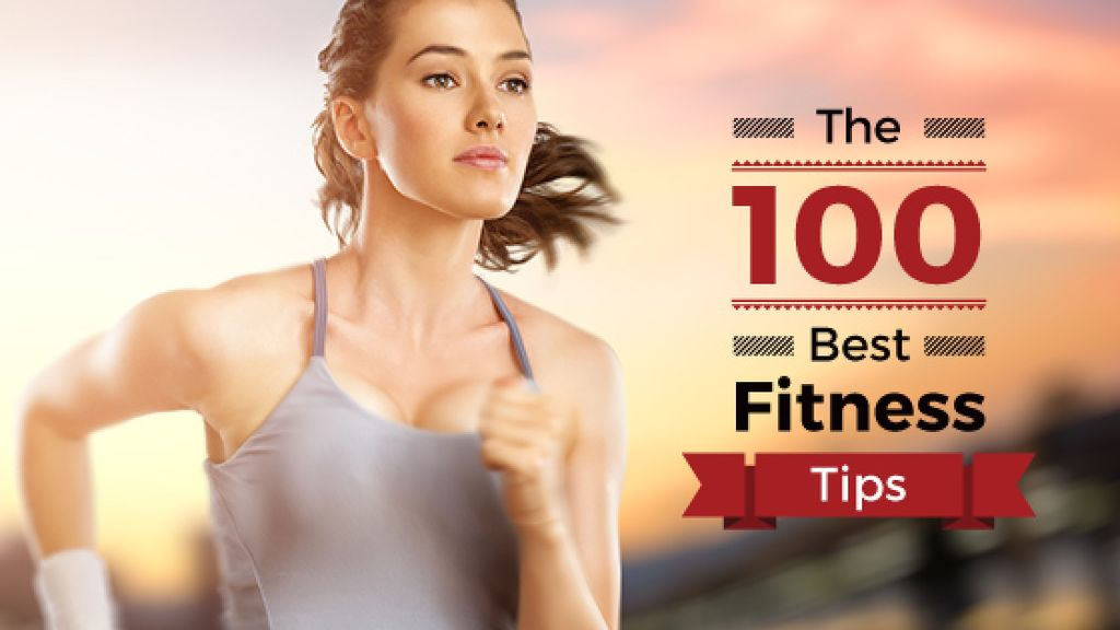 best fitness tips poster with sporty young woman running  — Створити дизайн