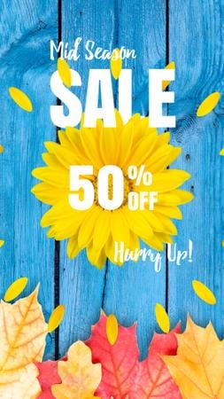 Autumn Sale Announcement Sunflower and Leaves Instagram Video Story Modelo de Design