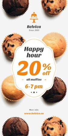Plantilla de diseño de Happy Hour Sale Variety of Muffins Graphic