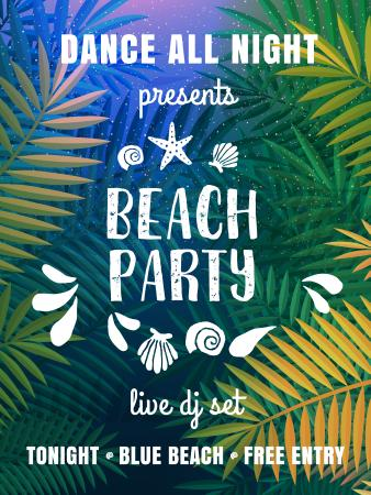 Ontwerpsjabloon van Poster US van Dance party invitation with Palm leaves