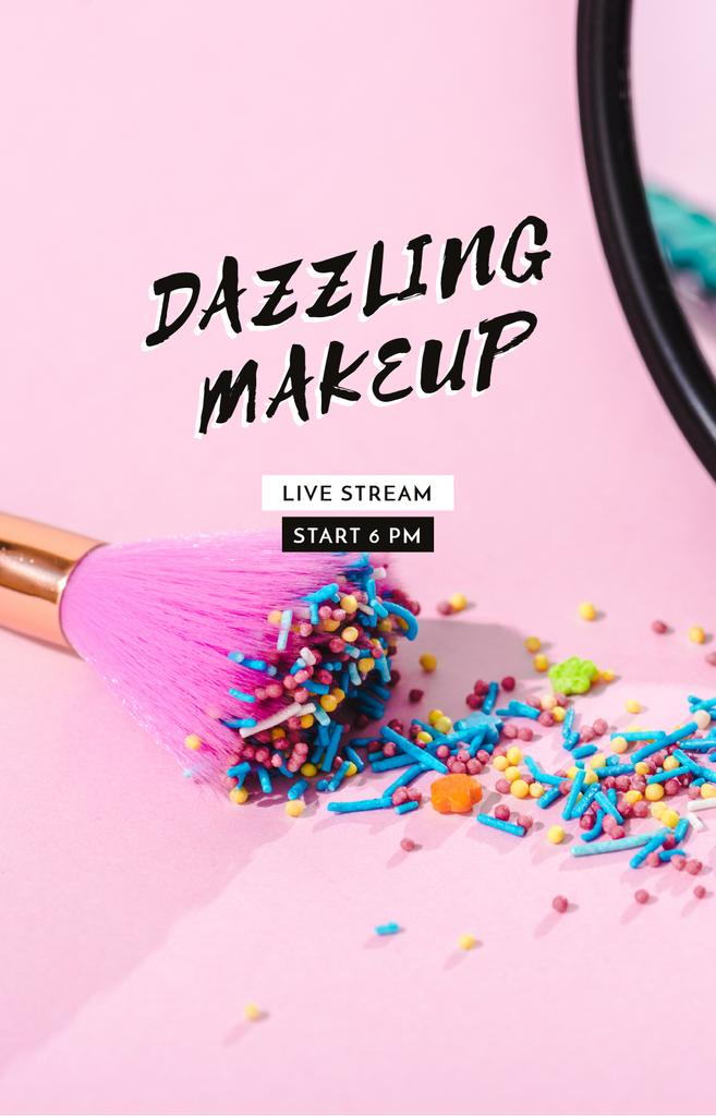 Bright Makeup concept with Brush — Modelo de projeto