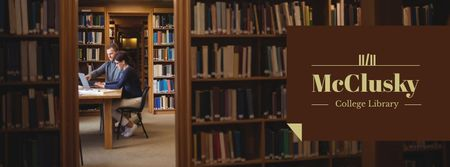 Plantilla de diseño de Students in College Library Facebook cover