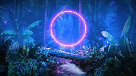 Glowing Neon Circle in night Forest Zoom Background Tasarım Şablonu