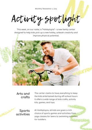 Plantilla de diseño de Activity Spotlight with Father and son on Bicycle Newsletter