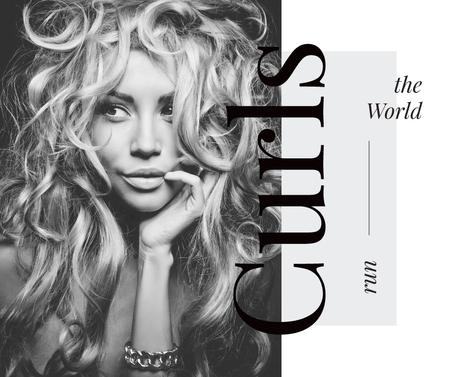 Plantilla de diseño de Curls Care Tips with Woman with Messy Hair Facebook