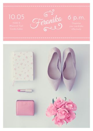 Fashion Event Announcement Pink Outfit Flat Lay Invitation – шаблон для дизайну