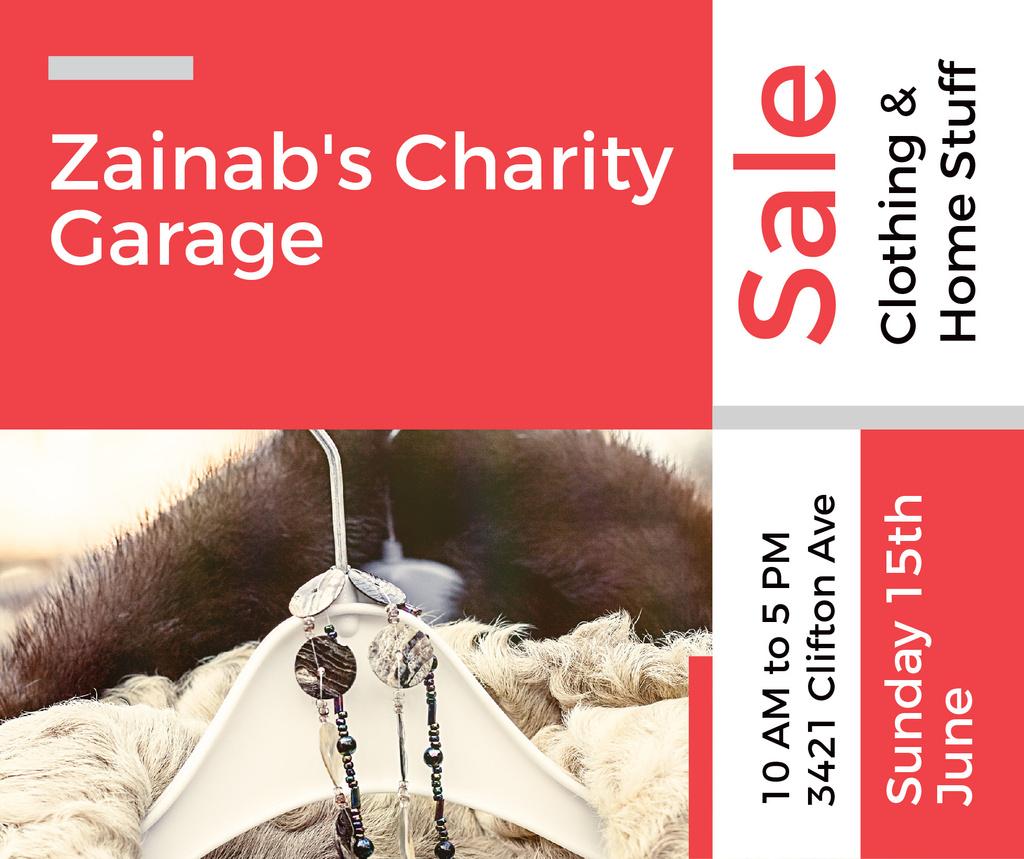 Modèle de visuel Charity Sale Announcement Clothes on Hangers - Facebook