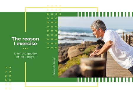 Plantilla de diseño de Senior man exercising outdoors Postcard