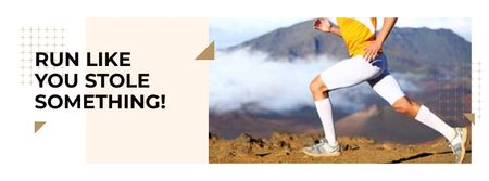 Plantilla de diseño de Running sporty young Man with Motivational Quote Facebook cover