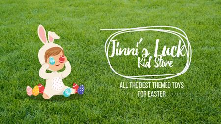 Plantilla de diseño de Easter Offer Kid in Bunny Costume Full HD video