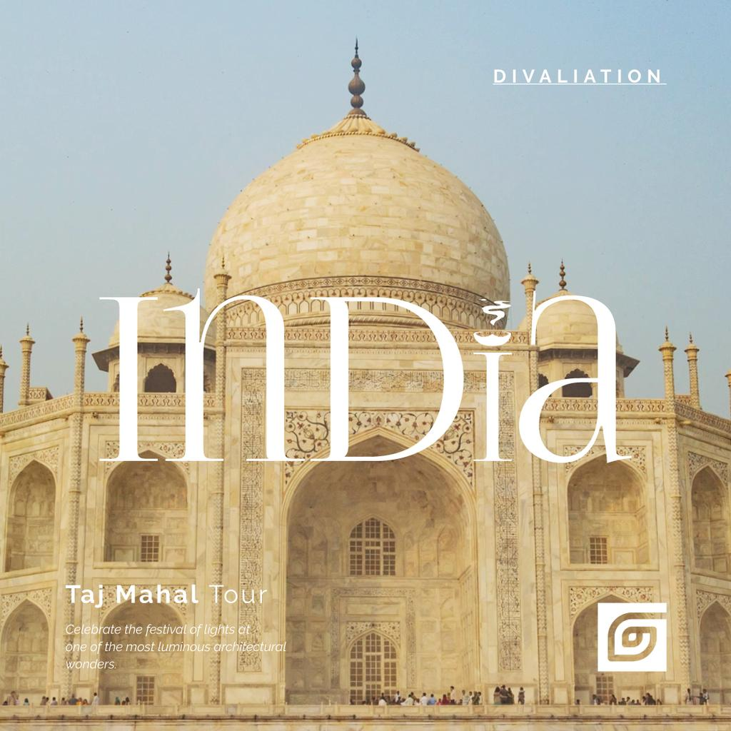 Travelling Tour Ad with Taj Mahal Building — Create a Design