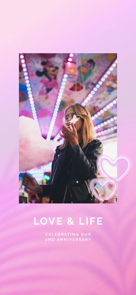Girl by Carousel at Anniversary Party — Crear un diseño