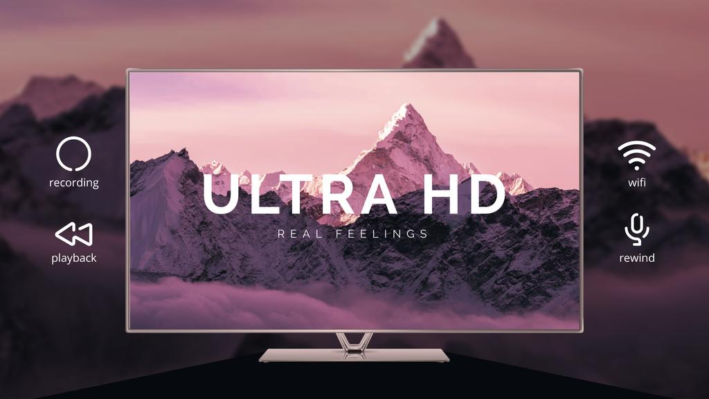 HD TV Ad Mountains on Screen in Purple — Створити дизайн