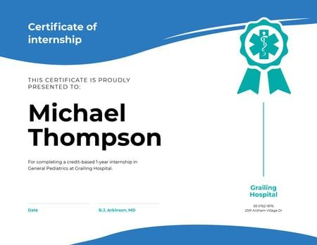 Medical Program Internship in blue Certificate Design Template
