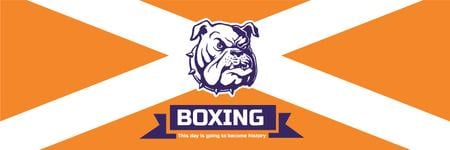 Modèle de visuel Boxing Match Announcement Bulldog on Orange - Twitter
