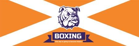 Boxing Match Announcement Bulldog on Orange Twitter Tasarım Şablonu