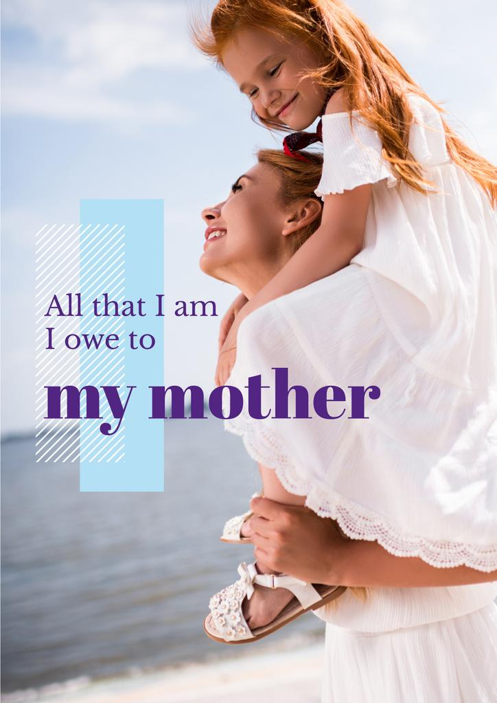 Parenthood Quote Happy Mother with Daughter — Create a Design
