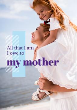 Parenthood Quote Happy Mother with Daughter | Poster Template
