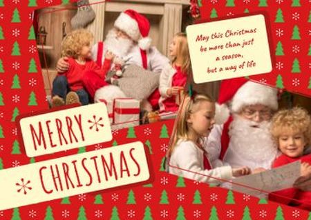 Plantilla de diseño de Merry Christmas Greeting with Kids and Santa Postcard