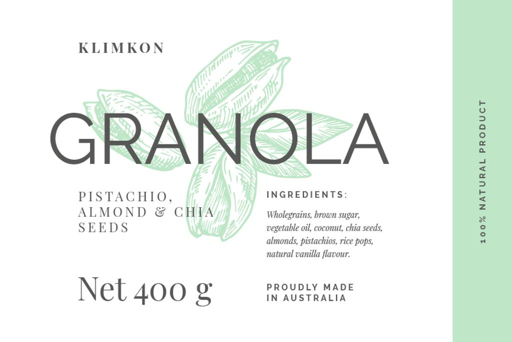 Granola packaging with nuts in green — Create a Design