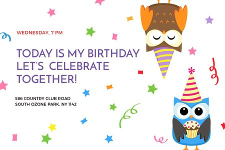 Birthday Invitation with Party Owls Gift Certificate – шаблон для дизайна