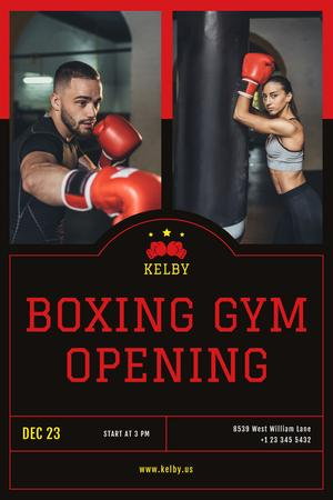 Boxing Gym Opening Announcement with People in Red Gloves Pinterestデザインテンプレート