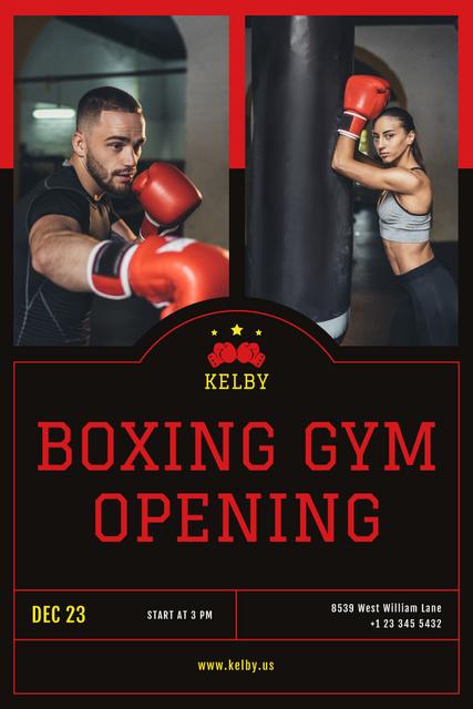 Ontwerpsjabloon van Pinterest van Boxing Gym Opening Announcement with People in Red Gloves