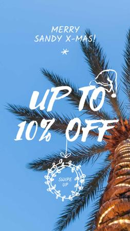 Plantilla de diseño de Tropical Palm decorated for Christmas Instagram Story