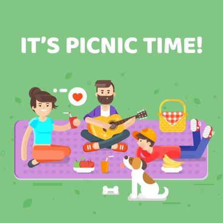 Family on a picnic in park Animated Postデザインテンプレート