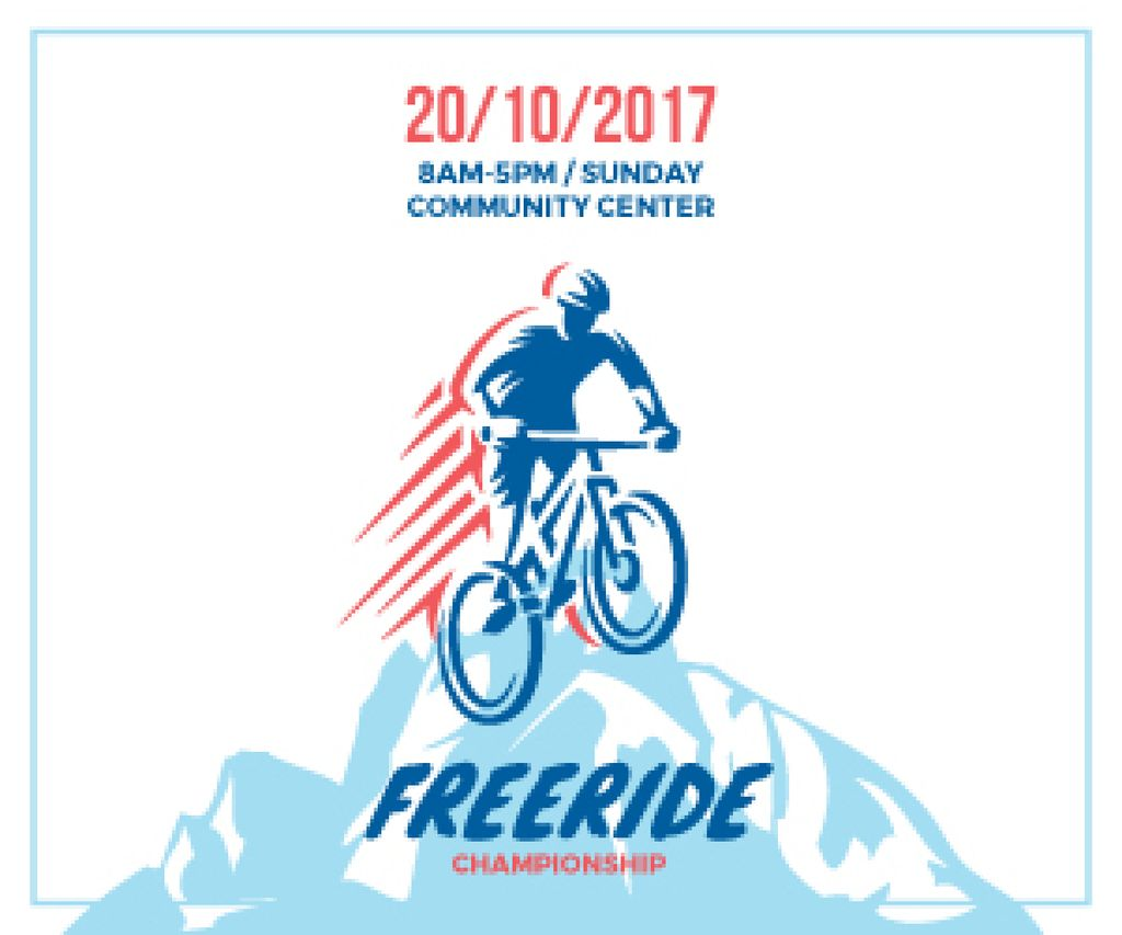 Freeride Championship Announcement Cyclist in Mountains | Medium Rectangle Template — Crear un diseño